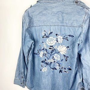American Eagle Chambray Embroidered Top